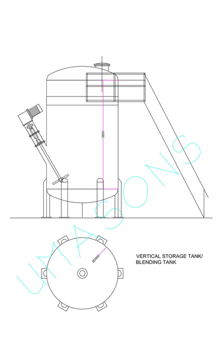CONICAL BOTTOM FLAT TOP REACTOR